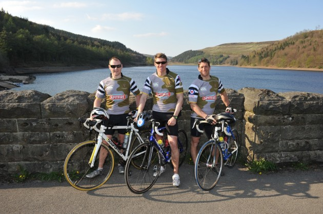 Get on your bike and ride: three of the airmen take a break