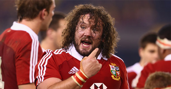 Gearing up for scrum time: Adam Jones shouts the odds on the pitch during the second Test of the Lions series