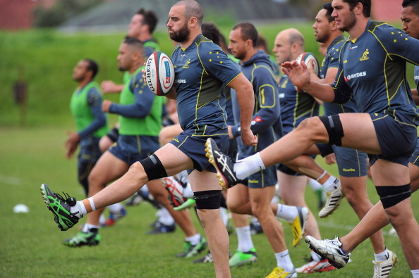 Hoping to kick on: The Wallabies warm up