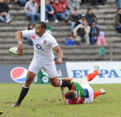 Slick and quick: Burrell showcases some of his handling skills for England against a Consur XV in Argentina