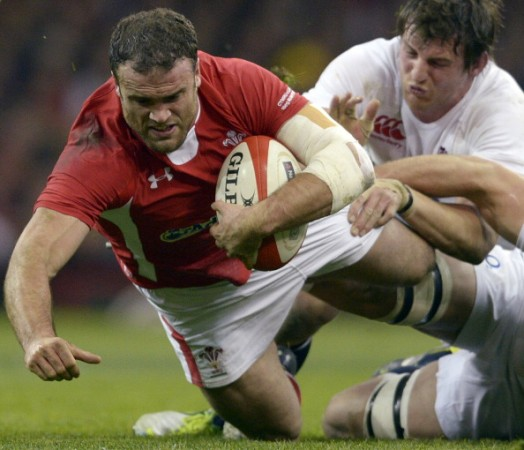 Injury doubt: Jamie Roberts hits the line hard