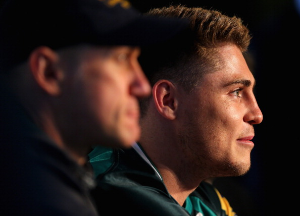 In the spotlight: O'Connor talks to the media with Brian Smith (left) at London Irish this week