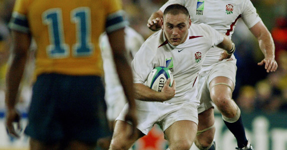 On the burst: Trevor Woodman charges forward for England during the Rugby World Cup final in 2003