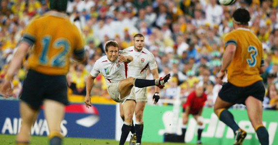 Over it goes: Jonny Wilkinson does what he does best - but this time in the most important game of his life