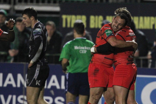 Cuddle time: Beauxis celebrates Toulouse's win over Connacht