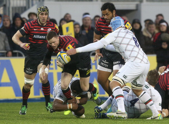 At the double: Chris Ashton scored two tries for Saracens
