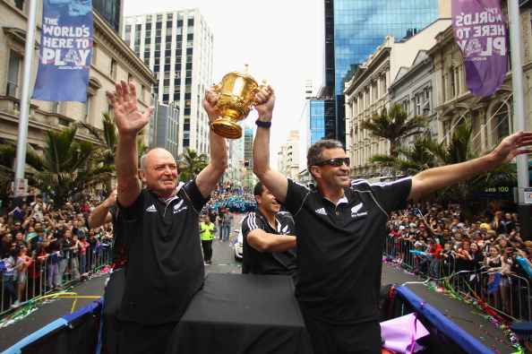Success story: Henry and Smith celebrate their RWC win