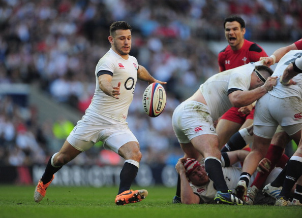 Standing up: Danny Care, while Mike Phillips shouts on