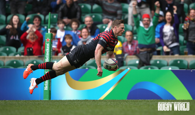 Record breaker: Chris Ashton was outstanding against Clermont with his 11th try in this year's Heineken