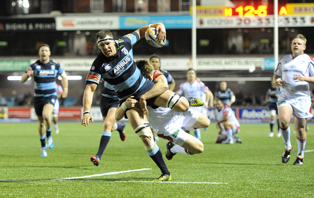 At a stretch: Robin Copeland drives on for Cardiff Blues against Ulster