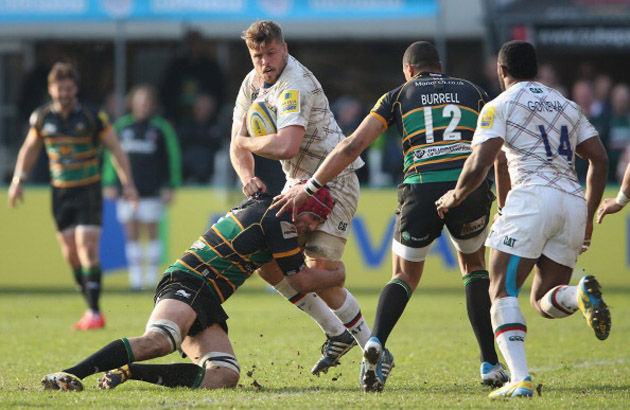 In the thick of it: A burly Ed Slater gets involved against Northampton Saints