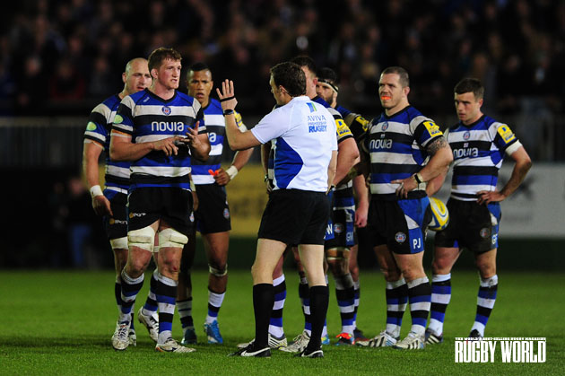 Have a word: Ref Matthew Carley has a word with Bath players during their 19-19 draw with Northampton