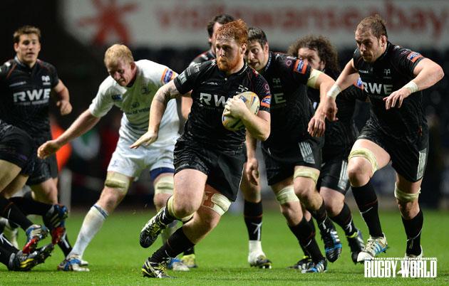 Breaking through: Dan Baker makes a burst for the Ospreys against Leinster