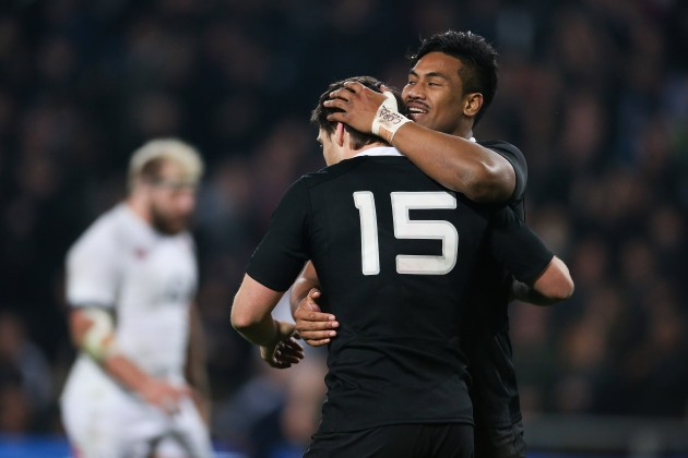 Local hero: Ben Smith is congratulated by Julian Savea after a superb showing in front of his home fans