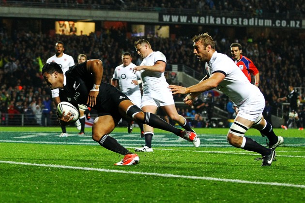Hat-trick hero: Julian Savea profited from poor English defence to score three tries in the Hamilton Test