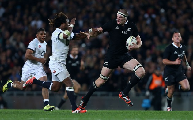 Big man steaming through: Brodie Retallick is a powerful, athletic lump in the All Blacks' boiler room