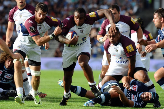 Mystery man: Bordeaux's French prop Jefferson Poirot on the gallop against Racing
