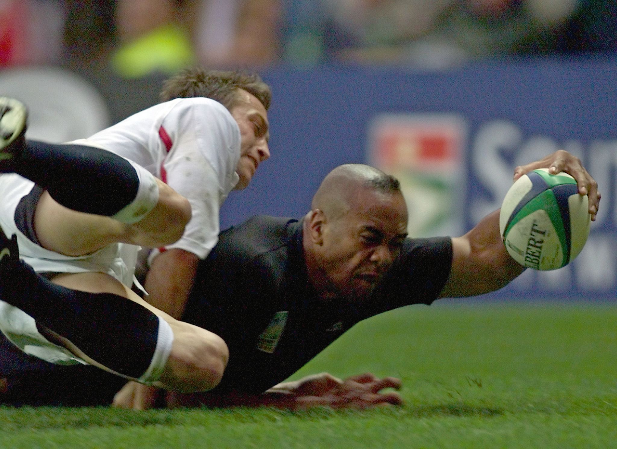 The master at work: Jonah Lomu scoring at his happy hunting ground of ...