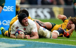 Come in No 8: Ben Morgan celebrates the first of his two tries for England