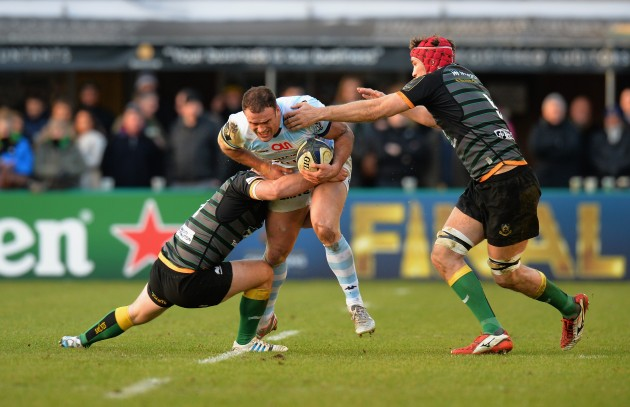 Spearhead: Jamie Roberts on the charge at Franklin's Gardens