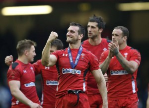 The leader: Man of the Match Sam Warburton celebrates. Photo: Inpho