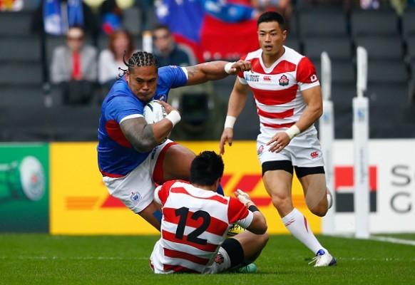 Alesana Tuilagi in action for Samoa against Japan