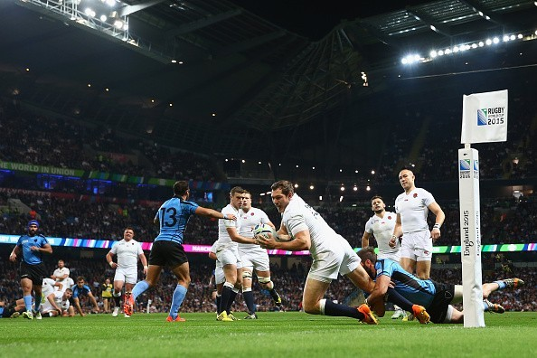 Alex Goode dives over for a try for England vs Uruguay, however it was disallowed