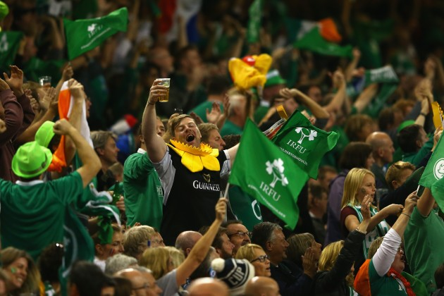 Ireland fans celebrate their teams victory against France