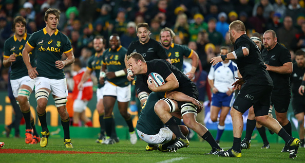 Epic rivalry: New Zealand and South African players battle during The Castle Lager Rugby Championship 2015. Photo: Getty Images