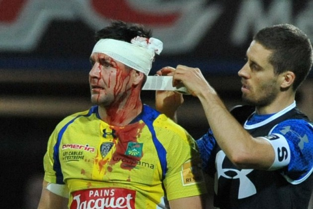 Blood spilled: Mike Delany has a gash seen to during a Top 14 match in the 2014-15 season