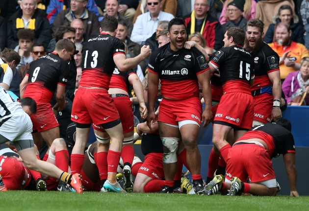 Semi smiles: Billy Vunipola and Saracens celebrate after beating Wasps in last month's European Champions Cup semi-final