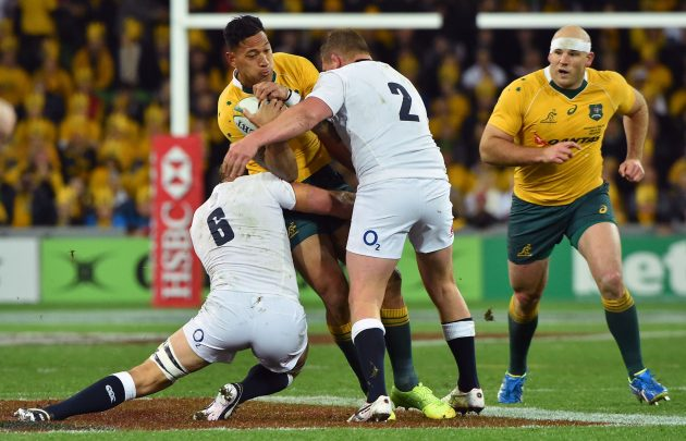 At the double: Chris Robshaw and Dylan Hartley combine to stop Australia dangerman Israel Folau