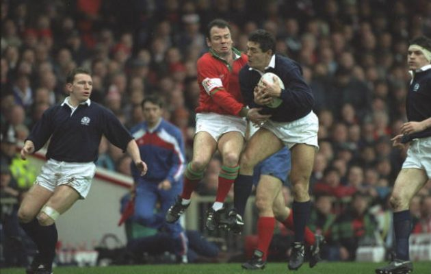 Gavin Hastings takes a high ball during a Test against Wales