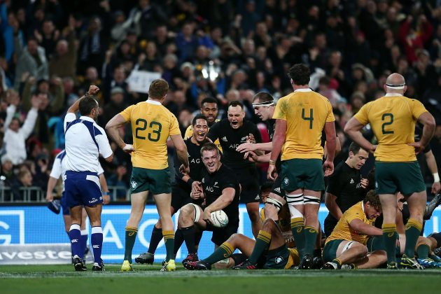Done and dusted: Sam Cane celebrates scoring the match-sealing try in Wellington