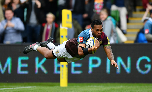 during the Aviva Premiership match between Harlequins and Northampton Saints at Twickenham Stoop on October 8, 2016 in London, England.