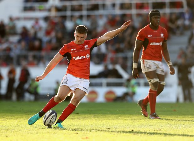 Slotting back in: In his first game of this season, Owen Farrell played heroically