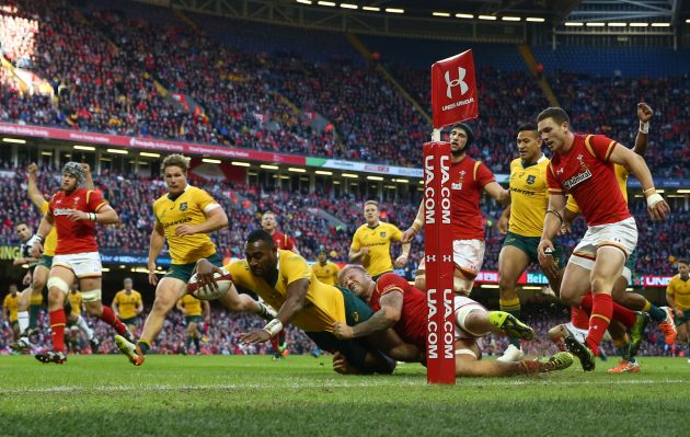 Dotting down: Tevita Kuridrani scores a third try for Australia during their 32-8 thrashing of Wales in Cardiff