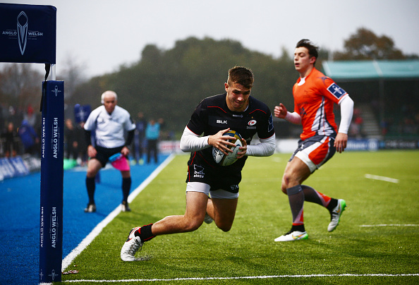 Try time! Perkins scores for Saracens in an Anglo-Welsh Cup clash in November.