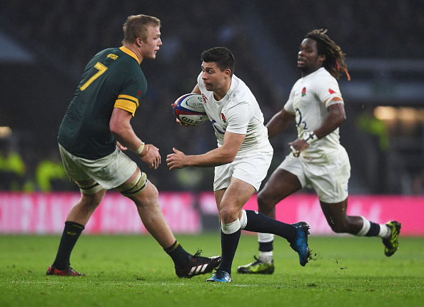 Ben and gone: Youngs wrong-foots Springbok No 7 du Toit.