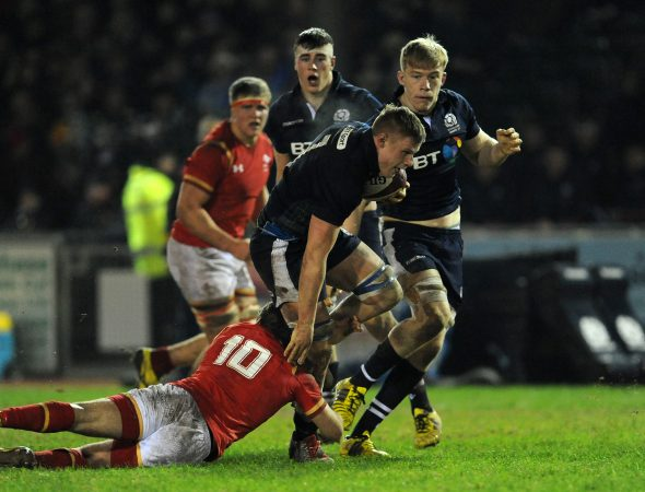 On the charge: Matt Smith taking the ball up for Scotland U20 v Wales.