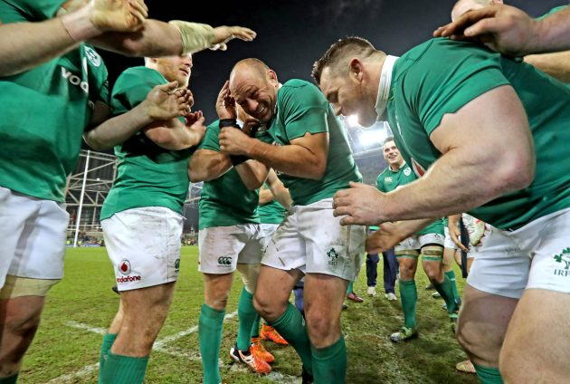 The Best man: Rory Best gets so many congratulatory pats from his team-mates he has to duck.