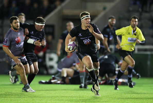 Quick Chick: Callum Chick on the charge for Newcastle Falcons.
