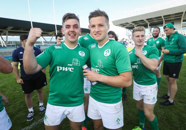 Up for the cup: McBurney (left) celebrates Ireland's U20 World Cup semi-final win.