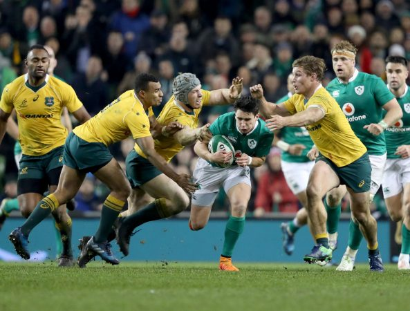 Gripping stuff: Joey Carbery playing for Ireland v Australia.