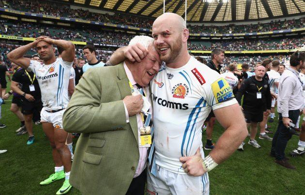 Exeter's Tony Rowe and Jack Yeandle