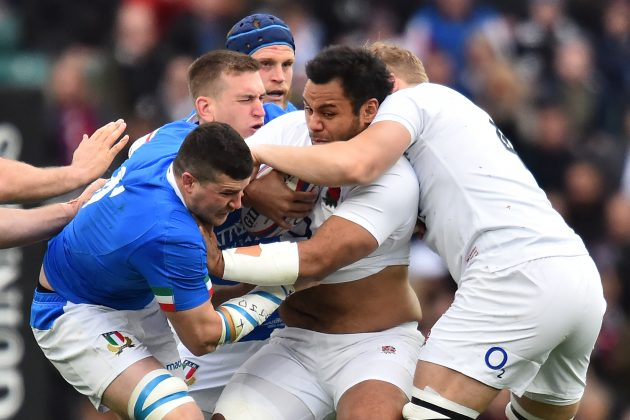 Billy Vunipola plays in the back-line for England against Italy