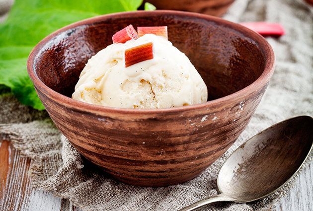 Winter rhubarb ice cream