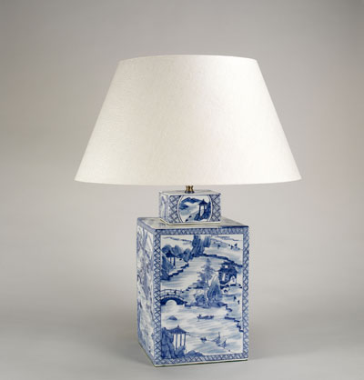 This Lampu0027s Ceramic Base Is A Vase Depicting A Restful Chinese Scene Of  Boats Bobbing In A River In Classic Blue And White. Here, It Is Shown With  The 19u2033 ...