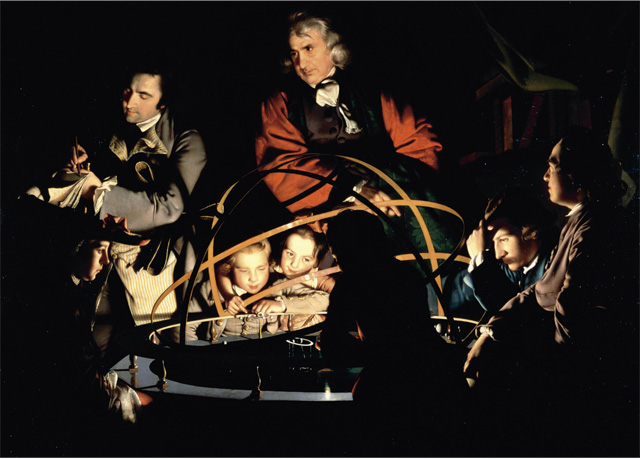 Lord Rees' favourite painting, A Philosopher giving that Lecture on the Orrery, in which a lamp is put in place of the Sun by Joseph Wright of Derby.