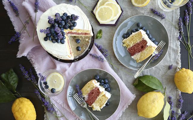 Lavender and lemon layer cake with vanilla mascarpone icing